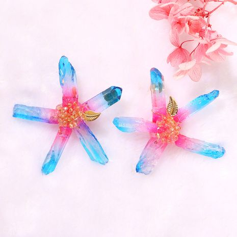 creative starfish transparent color handmade beaded gold leaf exaggerated fashion cute earrings wholesale nihaojewelry NHJQ239485's discount tags