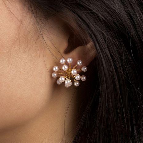 S925 argent aiguille coréenne simple perle fleur boucles d'oreilles mode gros nihaojewelry NHRN239490's discount tags