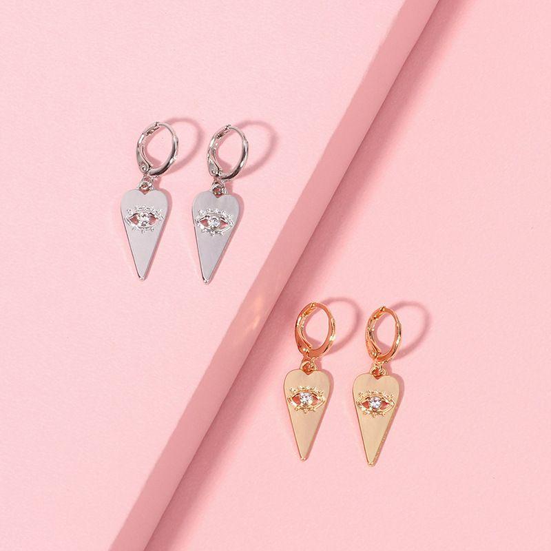 popular geometric eye pendant earrings exaggerated bohemian zircon earrings wholesale nihaojewelry NHRN239492