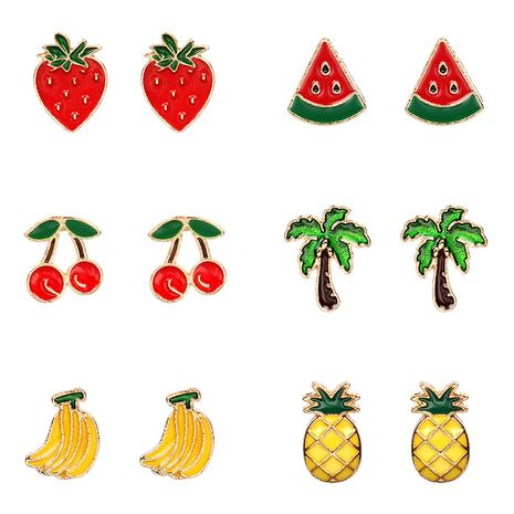 Summer fresh fruit fashion white variety of alloy women's earrings set nihaojewelry NHRN239493's discount tags