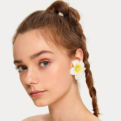 New  Bohemian pearl frangipani earrings for women wholesale nihaojewelry NHRN239501's discount tags