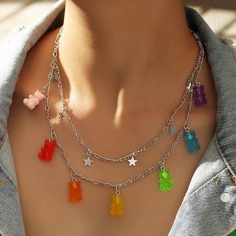 Collier en alliage d'ours à 7 couleurs de gelée transparente à la mode pour les femmes Nihaojewelry NHNZ239506's discount tags