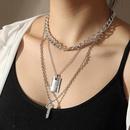 Fashion geometric letter doublelayer simple alloy retro key necklace for women nihaojewelry NHNZ239508