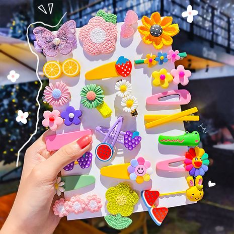 Korean  children's hair clip head rope set candy color hairpin side clip duckbill clip wholesale nihaojewelry NHNA239515's discount tags