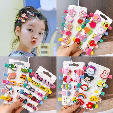 Juego de horquillas para niños coreanos clip de pico de pico de horquilla cubierto de tela clip lateral de dibujos animados nihaojewelry al por mayor NHNA239513's discount tags