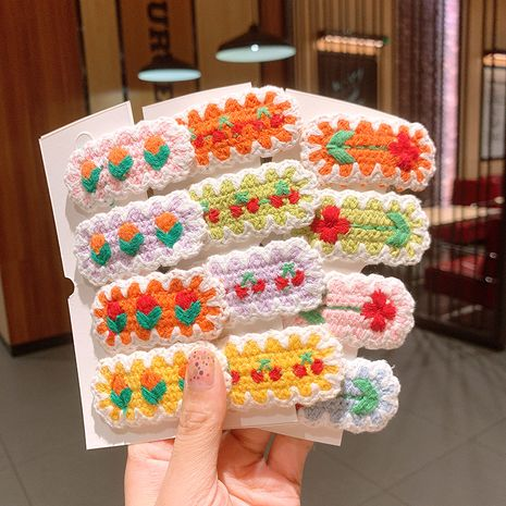 cute wool knitting cherry flower hairpin BB clip  wholesale  NHSA239528's discount tags