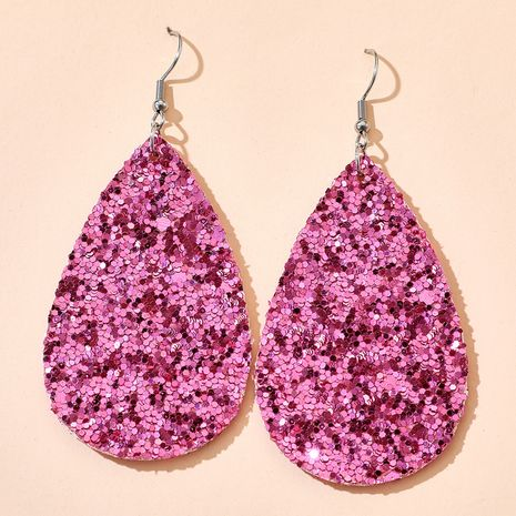nouvelles boucles d'oreilles de couleur double face en cuir géométrique en forme de goutte de paillettes polygonales en gros nihaojewelry NHGY239548's discount tags