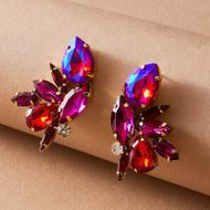 Exaggerated alloy diamond-studded colorful glass full diamond  fashion leaf-shaped earrings women nihaojewelry NHGY239550