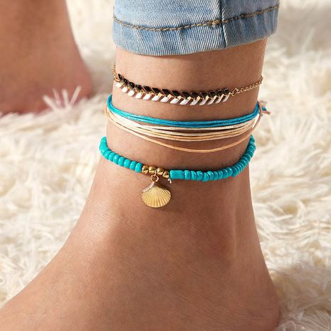 New Anklet Set Creative Cord Braided Rice Bead Shell Scallop Anklet 3 Piece Set NHGY239553's discount tags