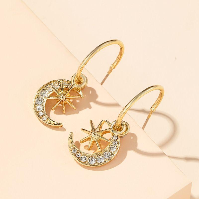 New Korean moon diamonds stars moon earrings simple earrings wholesale nihaojewelry NHGY239554