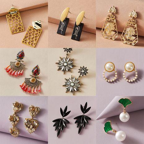 fashion diamonds love star pearl scallop earrings retro tassel earrings wholesale nihaojewelry NHGY239555's discount tags