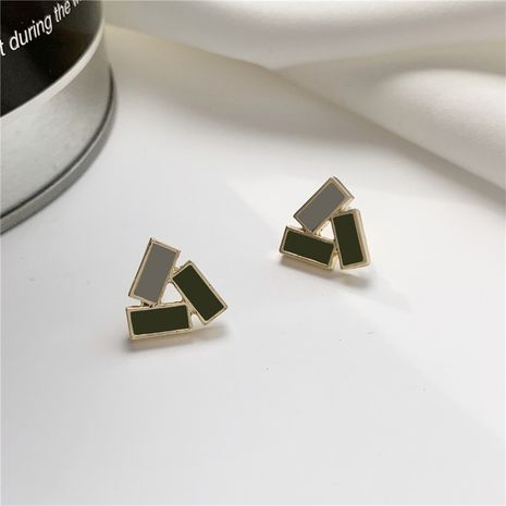 S925 silver needle Korean new green geometric triangle small  retro simple earrings wholesale nihaojewelry NHPF239557's discount tags