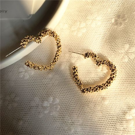 925 silver needle new fashion simple metal love peach heart geometric earrings wholesale nihaojewelry NHPF239558's discount tags