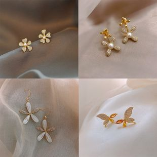 S925 silver needle Korean flower simple small butterfly diamond earrings wholesale nihaojewelry NHPF239559's discount tags