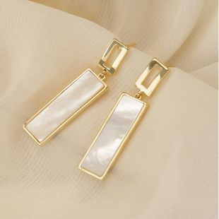 S925 silver needle Korean simple geometric square shell long earrings wholesale nihaojewelry NHPF239560's discount tags