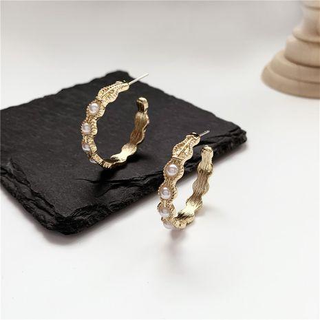 S925 silver needle Korean simple semi-circle C-shaped pearl geometric earrings wholesale nihaojewelry NHPF239561's discount tags