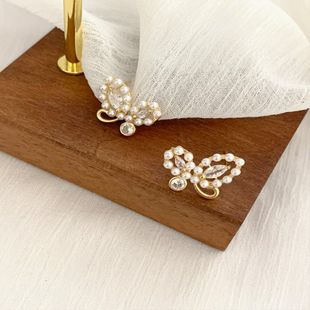 S925 silver needle Korea simple earrings pearl bow earrings wholesale nihaojewelry NHPF239563's discount tags