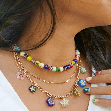mode rétro exagérée grande chaîne en or O mot chaîne collier en verre perle chaîne de la clavicule en gros nihaojewelry NHGW239566's discount tags