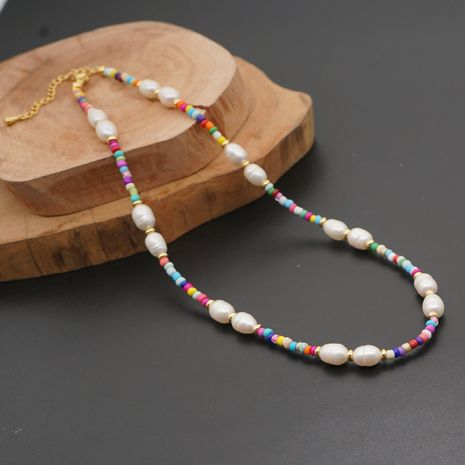 fashion retro baroque natural pearl ethnic color rice bead clavicle necklace wholesale nihaojewelry NHGW239570's discount tags