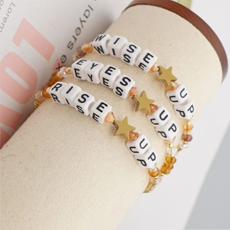 Korea fashion crystal letter niche simple star suit bracelet for women nihaojewelry NHGW239573's discount tags