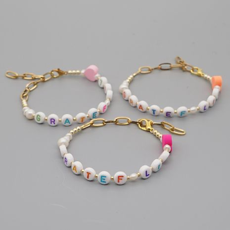 Hot sale love soft ceramic letter natural freshwater pearl stainless steel gold-plated chain bracelet nihaojewelry NHGW239576's discount tags