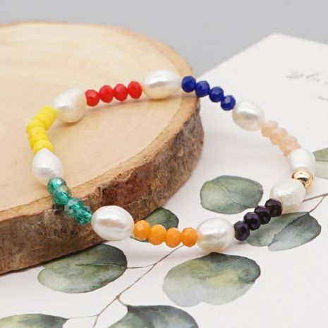 Niche baroque natural pearl rainbow crystal jewelry bracelet for women nihaojewelry NHGW239579's discount tags