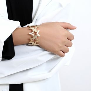 fashion all-match retro simple hollow five-pointed star bracelet trendy metal jewelry wholesale nihaojewelry NHXR239592's discount tags