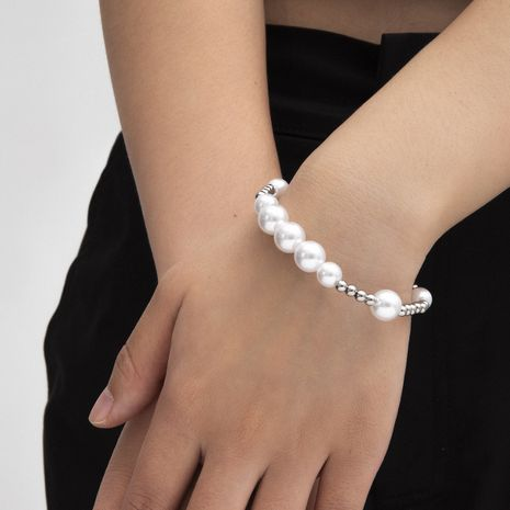 Joyería de moda pulsera de cuentas de acero inoxidable pulsera de perlas simples para mujeres nihaojewelry NHXR239599's discount tags