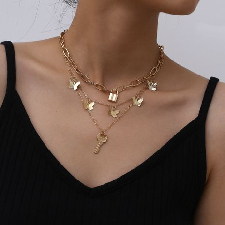 Mode papillon multicouche collier créatif type de verrouillage alliage simple clé collier en gros nihaojewelry NHXR239605's discount tags