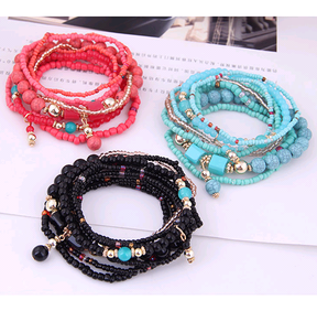 Trend Bohemian mix all-match delicate rice bead multi-layer bracelet wholesale NHSC239682