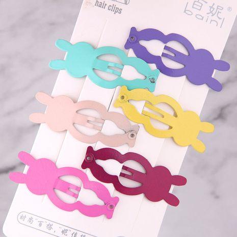 Bonbons couleur mignon enfants lapin côté clip épingle à cheveux ensemble en gros nihaojewelry NHSC240016's discount tags