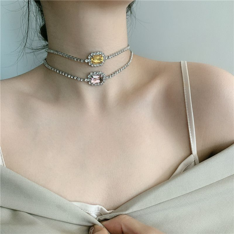 Flash diamond exquisite square diamond gemstone clavicle chain necklace sexy short choker for women NHYQ239622
