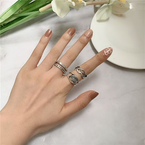 Sanskrit letters diamond hollowed out ancient silver old opening adjustable ring wholesale  NHYQ239624's discount tags