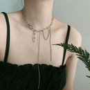Korean design thick chain long tassel short clavicle chain necklace for women NHYQ239632