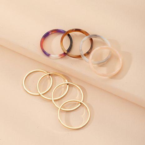 simple nouvelle bague de 8 pièces de couleur géométrique creuse en gros nihaojewelry NHAI239634's discount tags