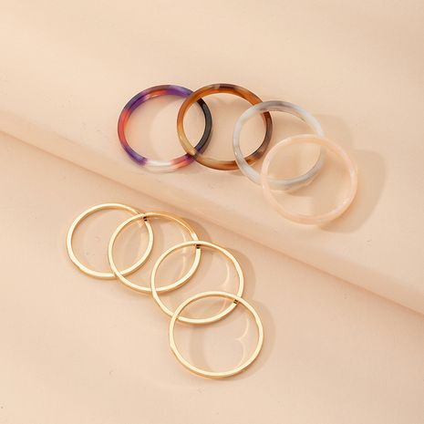 simple new hollow  geometric color 8-piece ring wholesale nihaojewelry NHAI239634's discount tags