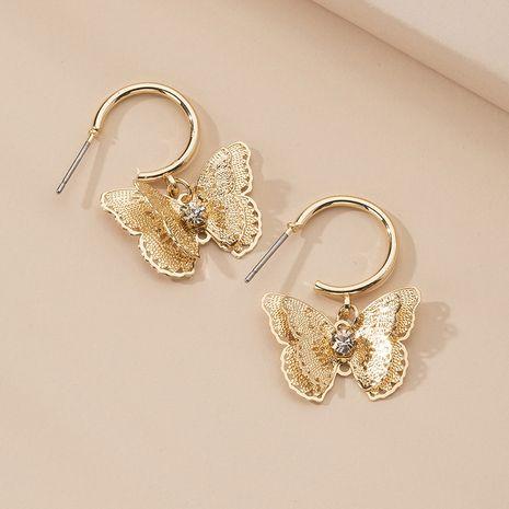 nouveaux bijoux papillon boucles d'oreilles zircon plaqué or bijoux de mariage en gros NHAI239635's discount tags
