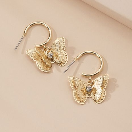 new jewelry butterfly gold-plated zircon earrings wedding jewelry wholesale NHAI239635's discount tags