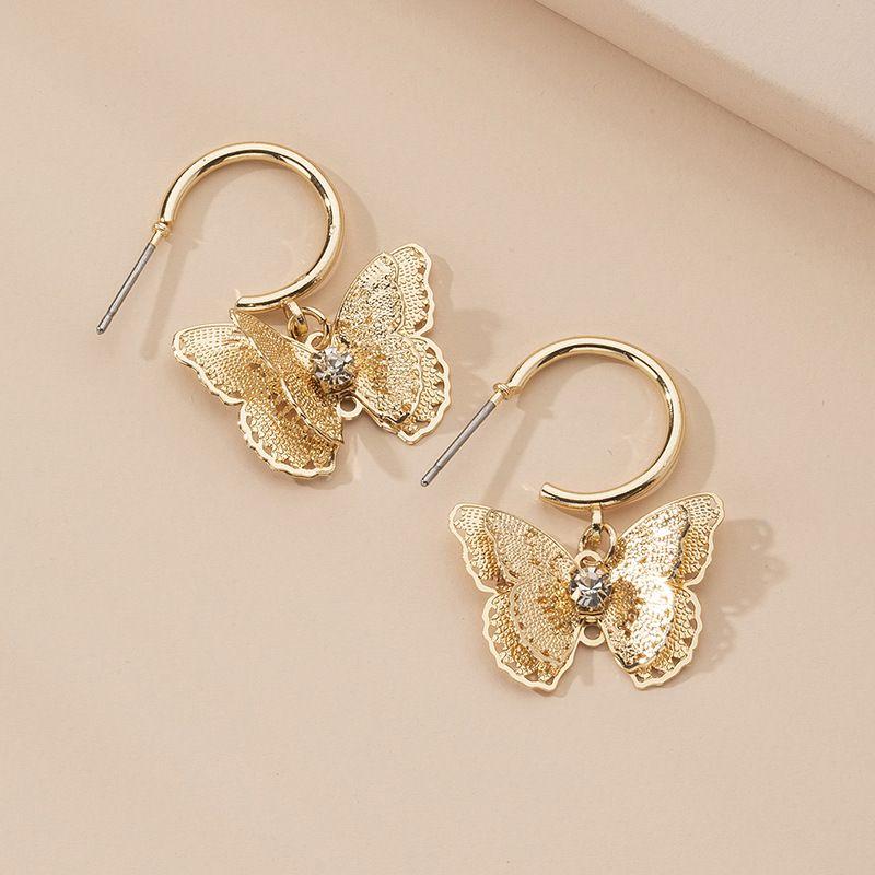 new jewelry butterfly gold-plated zircon earrings wedding jewelry wholesale NHAI239635