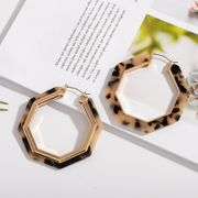new  alloy leopard pattern acrylic plate hollow geometric earrings wholesale nihaojewelry NHAI239638