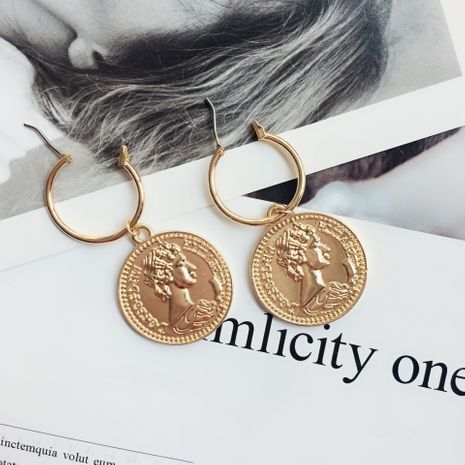 New retro coin c-shaped gold coin tassel  fashion exquisite earrings NHAI239639's discount tags