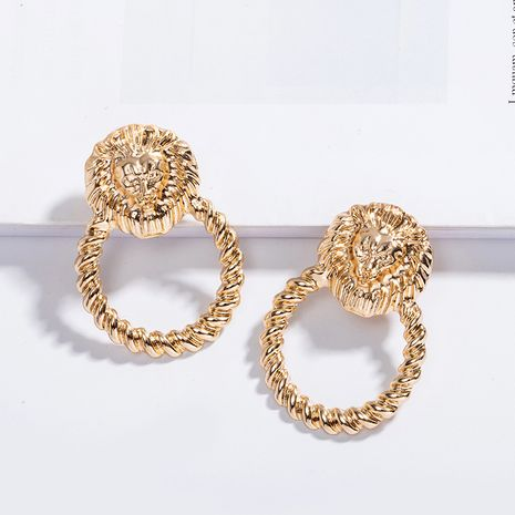 lion  retro fashion trend earrings wholesale nihaojewelry NHAI239643's discount tags