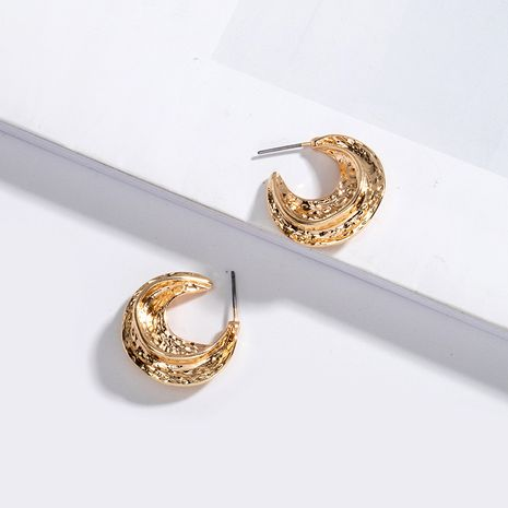 Korea metal hammered simple cool style earrings wholesale nihaojewelry NHAI239644's discount tags