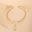 Hot sale alloy new fashion multilayer simple gold coin portrait geometric pendant necklace for women NHAI239647