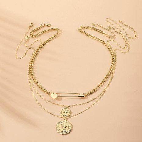 Venta caliente aleación nueva moda multi-capa simple moneda de oro retrato collar colgante geométrico para mujeres NHAI239647's discount tags