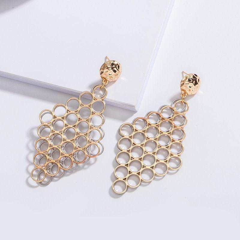 new Korean geometric diamond honeycomb circle earrings exaggerated earrings wholesale nihaojewelry NHAI239648