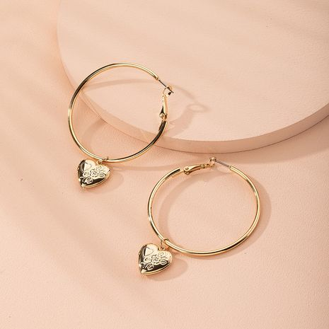 oversized hoop earrings Korean exaggerate peach heart ear jewelry earrings wholesale nihaojewelry NHAI239649's discount tags