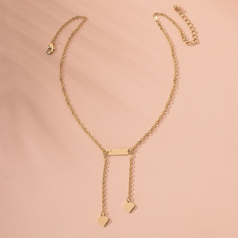S925 silver simple glossy love trend geometric shape clavicle chain womens necklace pendant wholesale NHAI239652