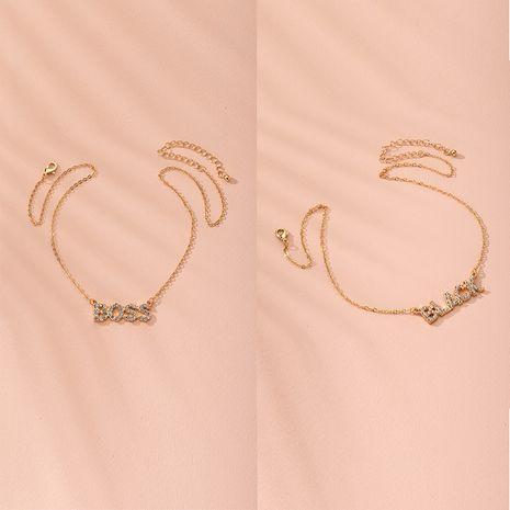 Fashion pendant English letter diamond simple retro street alloy necklace wholesale  NHAI239653's discount tags