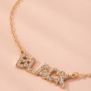 Fashion pendant English letter diamond simple retro street alloy necklace wholesale  NHAI239653